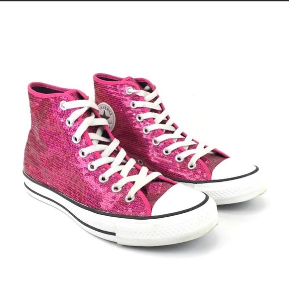 a6652fe8da2dd3 Converse Shoes - Converse All Star Pink Sequin High Tops Size 9